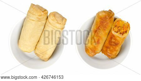 Spring Rolls In White Bowls. Unfried And In A Pan Crispy Fried Spring Rolls. Vegetable Filled And Ro