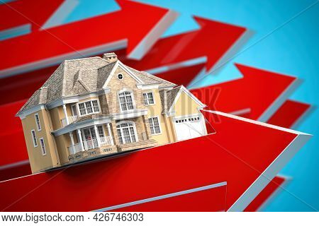 House on red arrows. Real estate  price increases. Growth of real estate market concept. 3d illustration