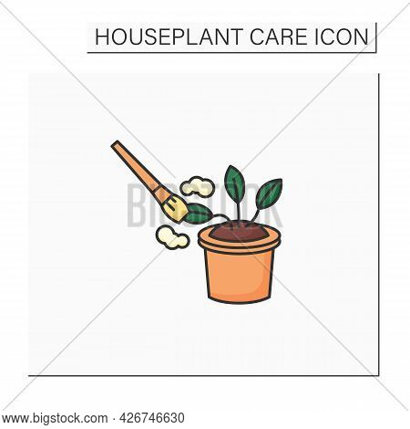 Cleaning Color Icon. Remove Dust From Plants. Home Gardening. Houseplant Care Concept.isolated Vecto