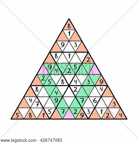 Unusual Sudoku Pyramid Game With Triangular Cells Vector Illustration. Educational Number Game For B