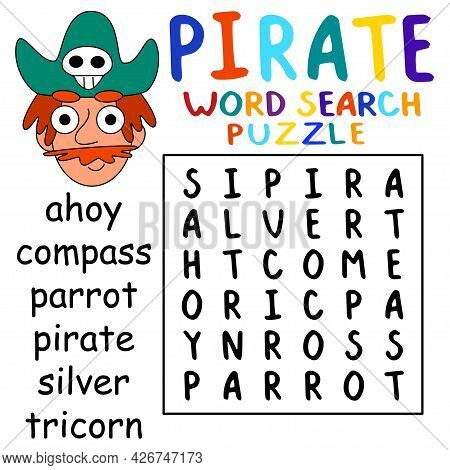 Simple Educational Pirate Word Search Puzzle For Boys Vector Illustration. Help Cartoon Pirate To Fi