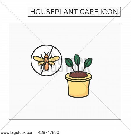 Gardening Color Icon. Control Insect Pests.protecting Plants From Wreckers.home Gardening. Houseplan