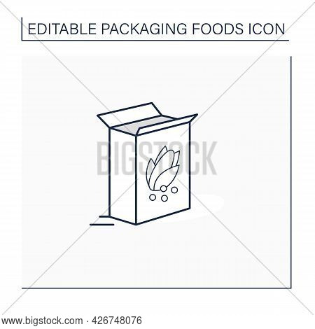 Breakfast Cereals Line Icon. Cereal In Carton Package. Protection, Tampering Resistance. Packing Foo