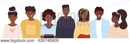 Black Community Concept, Cute African People Gathered Together, Set Of Young Male And Female Charact