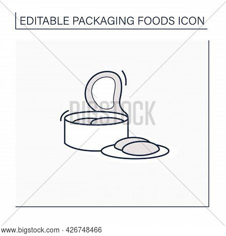 Canned Tuna Line Icon. Steel Container.portion Control, Protection, Tampering Resistance From Bacter
