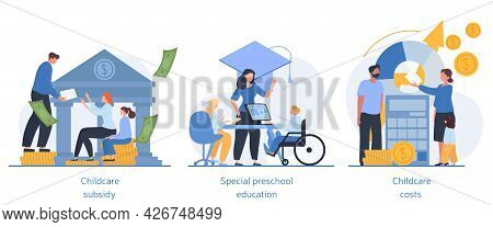 Daycare Financial Help And Family Support Concepts. Inclusive Kindergarten, Preschool Education, Sub