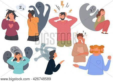 People With Mental Health Problems And Psychological Disorders. Insomnia, Schizophrenia, Anxiety, Bi