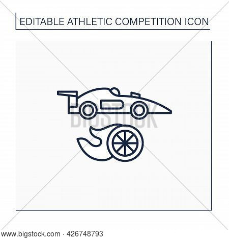 Auto Racing Line Icon. Motorsport. Automobiles Racing For Competition. Athletic Competition Concept.