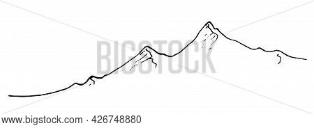 An Isolated Vector Line Is A Chain Of Mountains. Mountain Peaks, Drawn By Hand With A Black Line On