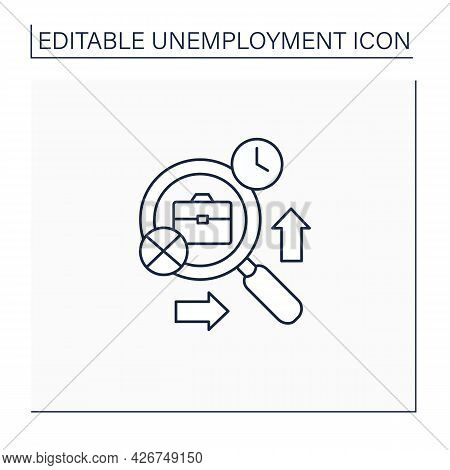 Frictional Unemployment Line Icon.searching New Job, Recruiting New Workers, Matching Right Employee