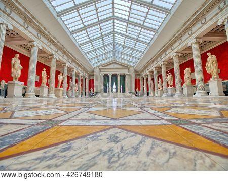 Copenhagen, Denmark/ June 30, 2021: Ny Carlsberg Glyptotek Museum - Panoramic View Of A Hall With An