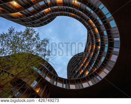 Copenhagen, Denmark - July 02, 2021: Axel Towers Building View From The Inner Garden, Example Of New