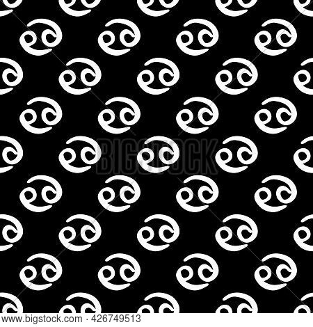 Cancer Zodiac Sign Black And White Seamless Pattern Vector. White Hand-drawn Astrological Symbols On