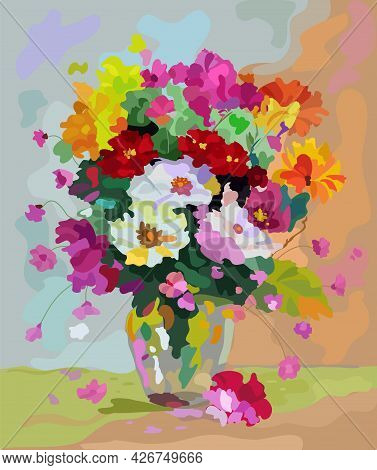 A Bouquet Of Flowers In A Vase On The Table. The Flowers Are Red, Purple, Orange. Table With A Light