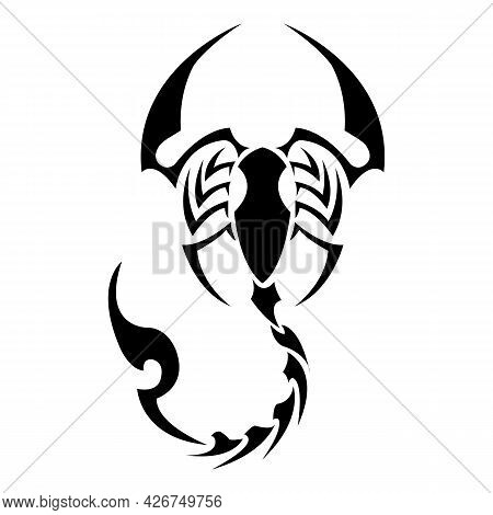Black Sketchy Scorpion. Sharp Claws And Tail. Simple Linear Style For Icons, Tattoo Or Logo. The Iso