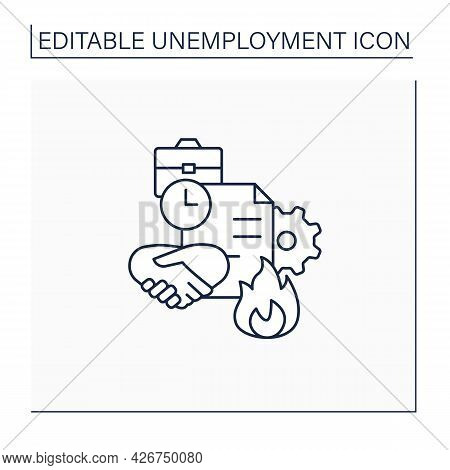 Fixed-term Contract Line Icon. Employment Contract Expiration. Agreement Between Employer And Employ