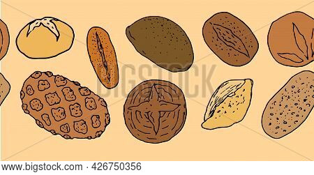 Vector Horizontal Seamless Bread Template In Color. A Long Strip Of Hand-drawn Bread, In The Style O