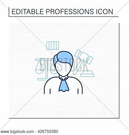 Judge Line Icon. Presides Over Court Proceedings.work In Court.important Job.professions Concept. Is