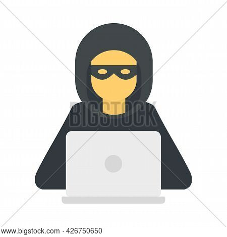 Hacker Man Icon. Flat Illustration Of Hacker Man Vector Icon Isolated On White Background