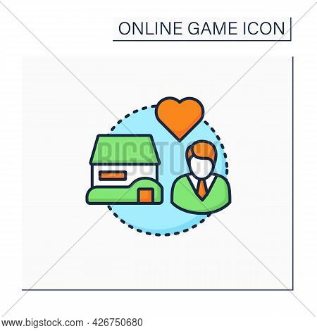 Open-world Game Color Icon. Players Move Freely In Virtual World. Change Certain Things. Online Game