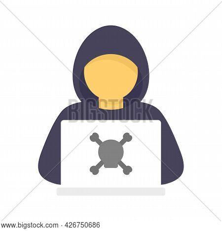 Criminal Hacker Icon. Flat Illustration Of Criminal Hacker Vector Icon Isolated On White Background