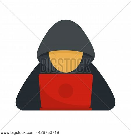 Cyber Hacker Icon. Flat Illustration Of Cyber Hacker Vector Icon Isolated On White Background