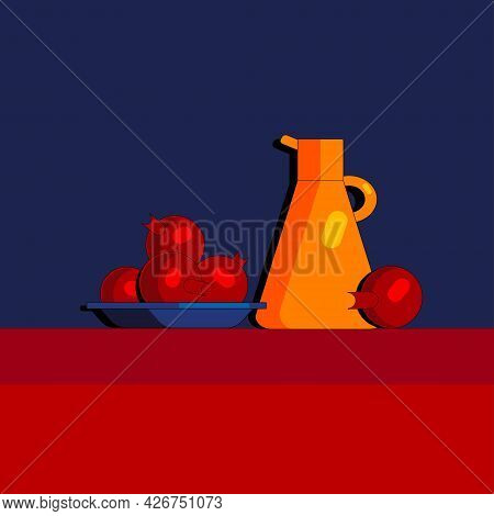 Stylized Still Life With Pomegranates And Kitchen Utensils. Colorful Flat Illustration. Element For