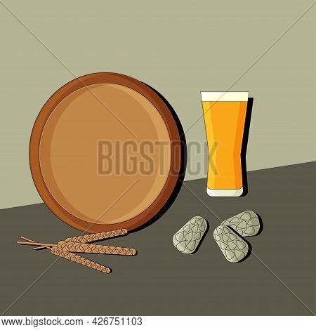 Stylized Still Life With Beer. Colorful Flat Illustration. Element For Design.  Vector.