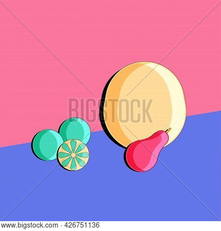 Stylized Still Life With Melon, Lime And Pear. Colorful Flat Illustration. Element For Design.  Vect
