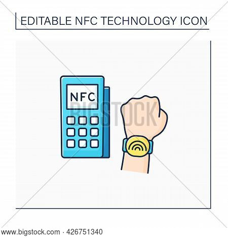 Nfc Color Icon. Safety Payment System On Smart Watch. Modern Technology. Near Field Communication. C