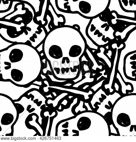 Vector Seamless Pattern Of A Skull And Crossbones. A Pattern Of A Hand-drawn Human Skull With Crosse