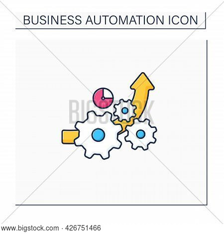 Increased Efficiency Color Icon. Doing Tasks Successfully, Without Wasting Time. Improve Its Competi