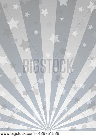 Sunlight Vertical Background. Shining Silver Grey Color Burst Background With Stars Or Fireworks. Ve