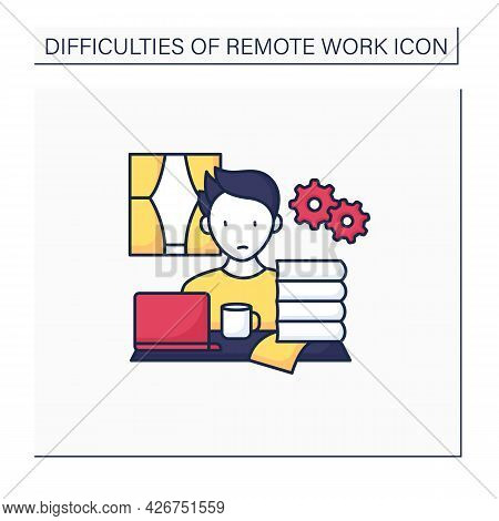 Remote Work Color Icon. Working Too Much. Overworking. Work Activities Beyond Capacity.career Diffic