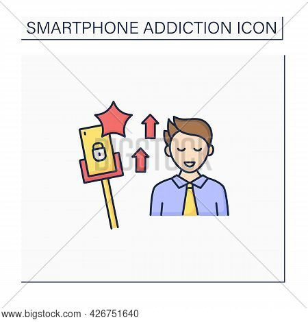 Smartphone Addiction Color Icon.encouraging Self Absorption. Rising Popularity. Overwhelmed Concept.