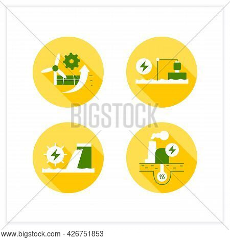 Energy Flat Icons Set. P2x, Pumped Storage, Hydroelectric, Geothermal Power Stations. Electricity Ge