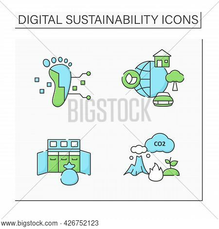 Digital Sustainability Color Icons Set. Global Industrial Innovation, Growth. Footprint, Environment