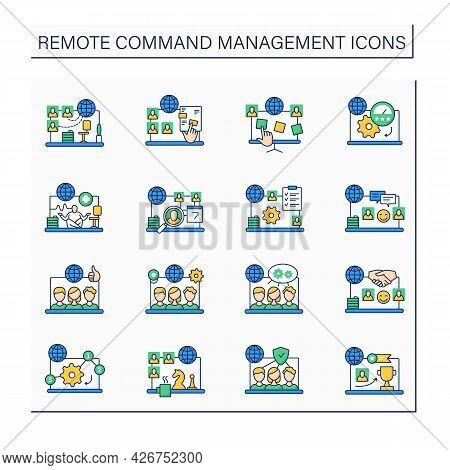 Remote Command Management Color Icons Set. Online Work. Video Chat. Virtual Office. Digitalization C