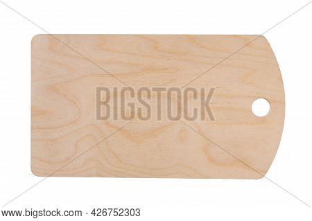 Light Beige Plywood Kitchen Chopping Board With Round Hole Isolated On Clean White Background, Top V
