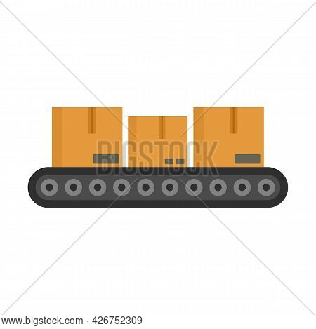 Parcel Assembly Line Icon. Flat Illustration Of Parcel Assembly Line Vector Icon Isolated On White B