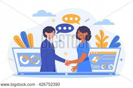Virtual Deal Concept. Man And A Woman Shake Hands Through Laptop Screens. The Heads Of Firms Discuss