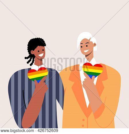 Happy Gay Couple Hug In Wedding Suit. Lgbtq Wedding. Interracial Same-sex Couple. Vector Template Fo