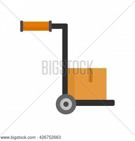 Hand Parcel Cart Icon. Flat Illustration Of Hand Parcel Cart Vector Icon Isolated On White Backgroun