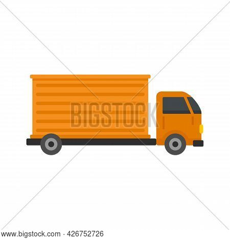 Parcel Truck Delivery Icon. Flat Illustration Of Parcel Truck Delivery Vector Icon Isolated On White