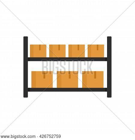 Parcel Warehouse Rack Icon. Flat Illustration Of Parcel Warehouse Rack Vector Icon Isolated On White