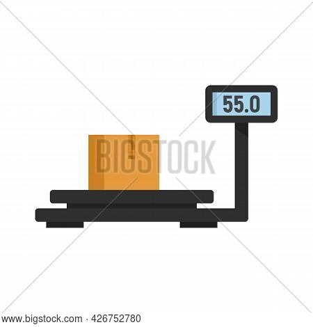 Parcel Warehouse Scales Icon. Flat Illustration Of Parcel Warehouse Scales Vector Icon Isolated On W
