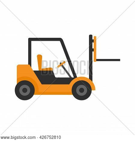 Warehouse Forklift Icon. Flat Illustration Of Warehouse Forklift Vector Icon Isolated On White Backg