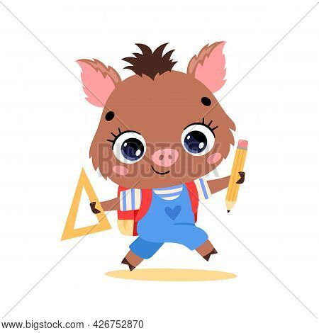 Vector Flat Doodle Illustration Of A Cute Cartoon Wild Boar Going To School. Animals Back To School