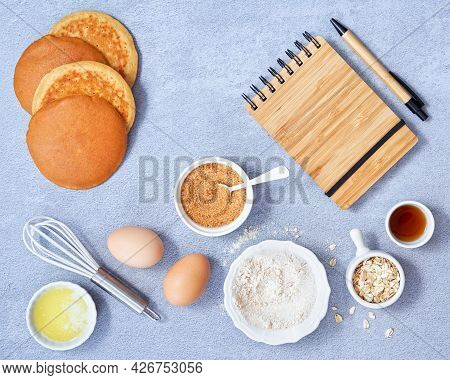 Food Background. Ingredients For Homemade Oat Pancake With Whole Grain Oat, Coconut Sugar, Vanilla S