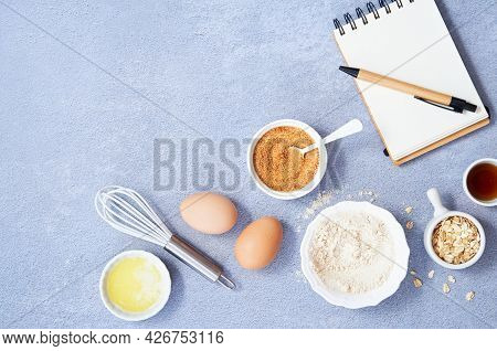 Healthy Food Background, Ingredients For Homemade Oat Pancake With Whole Grain Oat, Coconut Sugar, V